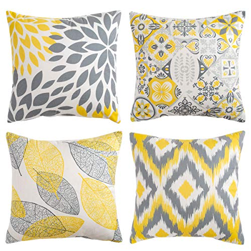 Cushion Covers Throw Pillows Covers Throw Pillow Case Decorative Pillows for Couch 45cm x 45cm/18 X 18 Inch Soft Short Plush Yellow Grey Flower Throw Pillow Case for Bedroom Sofa Living Room 4 Pack