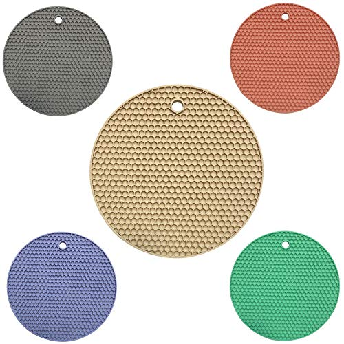 INYUNMIN 5 pezzi Sottopentola in silicone rotondo a nido d'ape Multifunzione in silicone Supporto per cucchiaio in silicone , Sottopentola flessibile antiscivolo per cucina da tavolo (multicolore)