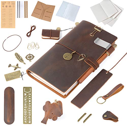 Moterm Refillable Handmade Leather Notebook - 8.6'' x 4.9'' Leather Journal Writing Notebook Travelers Notebook, Writing Diary Notepad (Standard Sizes, Brown, Rich Gifts)