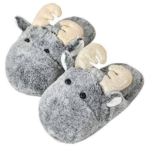 Yuchen 2020 Herbst und Winter Cartoon Elch Baumwolle Hausschuhe rutschfeste Indoor Hausschuhe Nachahmung Kaninchen Pelz Frauen Hausschuhe (36-38 EU, Grau, 36)