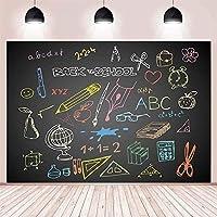 NEW学校に戻る背景コース装飾絵画黒板グローブ文房具教師学生ポートレート写真背景ビニール背景10x7ft