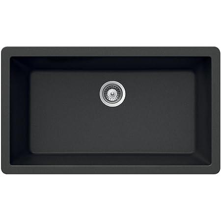 Houzer V-100U MIDNITE Quartztone Series Granite Undermount Large Single Bowl Kitchen Sink, Black