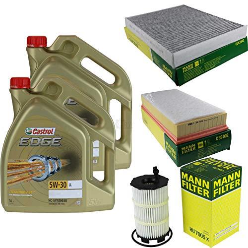 Juego de filtros de inspección de 10 litros de aceite de motor Castrol Edge Titanium FST 5W-30 LL MANN-FILTER filtro interior filtro de aire filtro de aceite