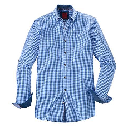 OLYMP Hemd Trachtenhemd Level 5 Body Fit blau/Weiss, Größe XL