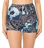 Merry Style Leggins Cortos Malla Deportiva Short Mujer MS10-407(Azul Marino/Flores,M)