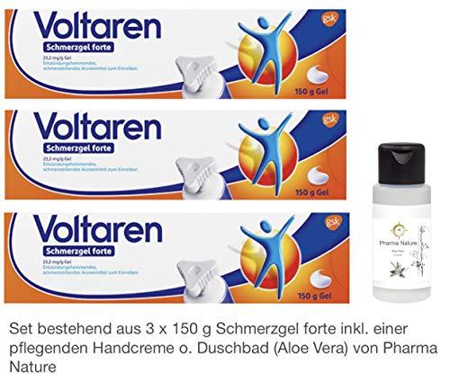 Voltaren Schmerzgel forte 3 x 150 g Sparset inkl. einer hochwertigen Handcreme o. Duschbad von Pharma Nature