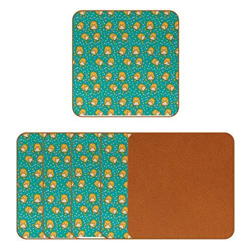 Posavasos de cuero para bebidas, diseño de hámster con estampado floral floral cuadrado para proteger muebles, resistente al calor, decoración de bar de cocina, juego de 6