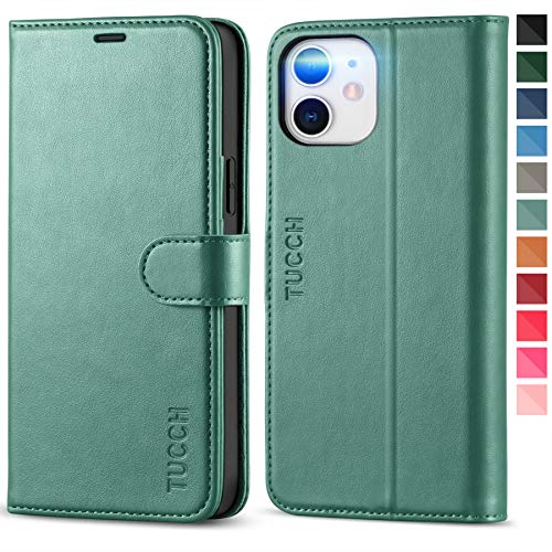 TUCCH iPhone 12 Pro Wallet Case, iPhone 12 Flip PU Leather Magnetic Cover with RFID Blocking Card Slot Stand [Shockproof TPU Interior Case] Compatible with iPhone 12 Pro/12 6.1 inch, Myrtle Green