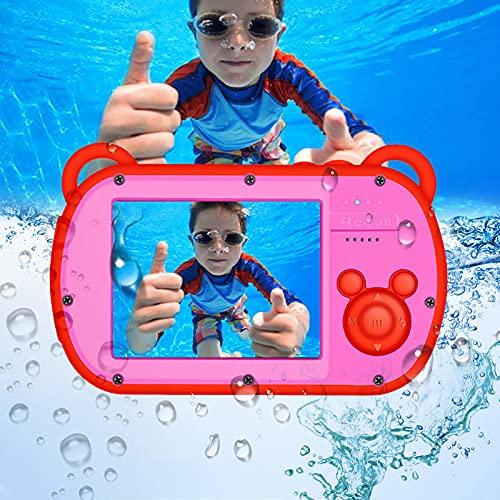 Cámara subacuática para niños HD 1080P Cámara para niños Impermeable 18 MP Pantalla de 2,7 Pulgadas 8X Zoom Digital Juguetes Cámara Regalo con luz de Flash Recargable