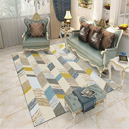 WQ-BBB Alfombra Exterior Ocio Diseño de Rayas Amarillas Grises Marrones de Estilo Simple alfombras Salon 300X400cm