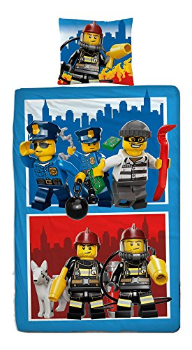 Wende Linon Kinder Bettwäsche Lego City 135 x 200cm + 80 x 80cm - 100% Baumwolle - Feuerwehr - Polizei - deutsche Größe