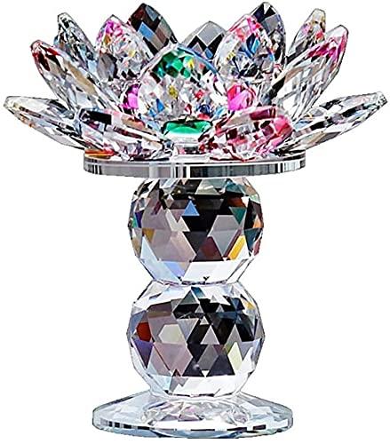 Kristall Glas Lotus Flower Kerzenhalter, Kristall Teelicht Kerzenhalter Bunte Kandelaber Leuchtturm Halter, Top dekorative Geschenk, 4,5 Zoll