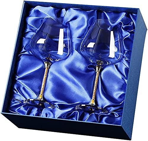 Copa de vino de alta gama, de oro de 24 quilates, color burdeos, gran decantador, copa de vientre maceta, juego de vino para el hogar (2 juegos de copas de vino)