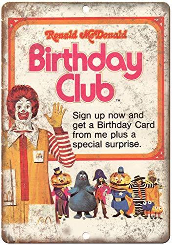 HALEY GAINES Ronald Mcdonald Verjaardagsclub Muur Tin Tekens Decor Metalen Plaques Waarschuwing Notice IJzeren Schilderen Voor Bar Koffie Huis keukens Badkamers Garages 20 * 30cm