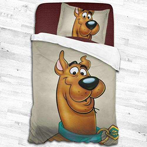 maichengxuan Scooby-Doo Quilt Cover, 2-Piece Bedding Set Soft Printed Microfiber Comforter Cover with Zipper Closure - 53'X79'