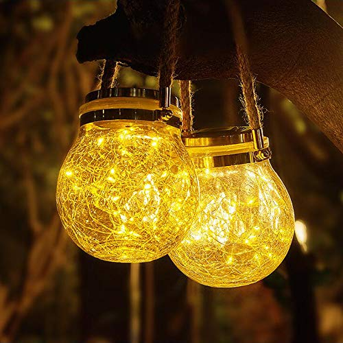 Solar Lanterns Outdoor Hanging Solar Lights 2 Pcs 30LED String Bright Waterproof Crack Glass...