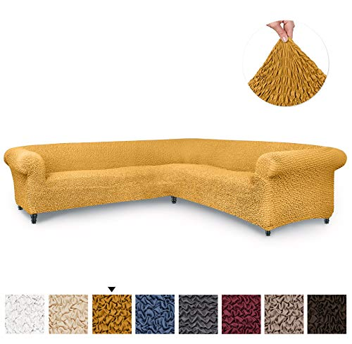 Sectional Sofa Cover - Corner Couch Cover - Corner Slipcover - Soft Polyester Fabric Slipcovers - 1-piece Form Fit Stretch Furniture Slipcover - Microfibra Collection - Mango (Corner Sofa)