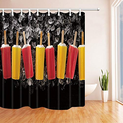 LRSJD Lekker koud ijs op stok op ijsblokjes op donkere achtergrond zomer douchegordijn stof badkamer decoraties badgordijnen haken inbegrepen 71X71 inch