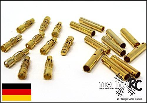 molinoRC 40x Goldstecker = 20 Paar 4 mm Hochstrom bis 80A 20x Stecker 20x Buchse