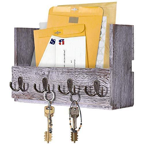 Comfify Post-Wandhalterung aus Holz - Rustikale Schlüsselaufbewahrung - Organizer für die Wand - Zeitschriftenhalter mit 4 Doppel-Schlüsselhaken - Weißes Wanddekor für den Eingangsbereich