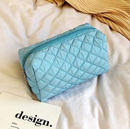 JIAN&K Trousse De Toilette Nylon Voyage Cosmetic Bag Portable Maquillage Femme Main Grande Capacité Simple Portable Cosmetic Sac De Rangement Bleu Clair