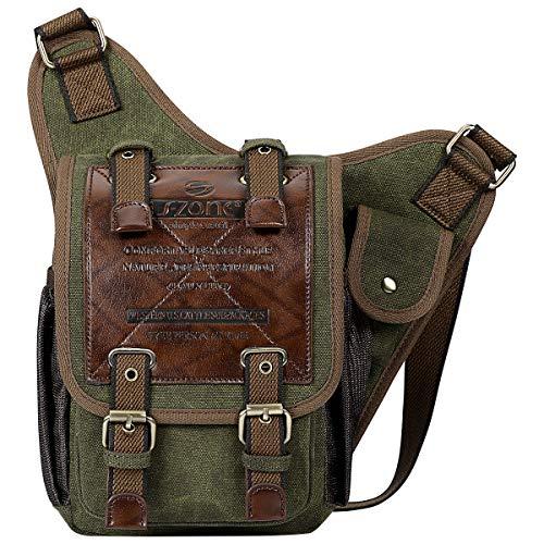 S-ZONE Unisex Mens Shoulder Messenger Bags Vintage Canvas PU Leather Military Utility Multi-functional Satchel Crossbody Bag