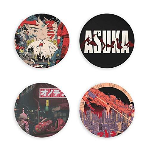 songyang Akira - Abrebotellas magnético con diseño de anime redondo, imán decorativo para nevera, insignia multifunción, 4 unidades, doble función, hermosos regalos