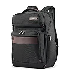"Constructed of rugged ballistic nylon with genuine leather details; Performance mesh shoulder pads and Air mesh padded back Padded Laptop Compartment fits up to 15.6"" laptop Smart Sleeve slides over upright handles for easy mobility Business Organiza..."