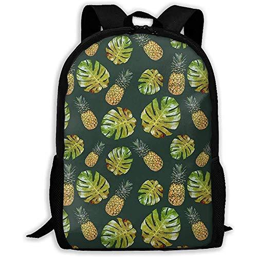 Hdadwy Lightweight Basic Bookbag,Casual Shouder Knapsack,Men/Women Travel Backpack,Palm Leaves & Pineapple Student School Daypack,Laptop Business Rucksack,for Adult/Teens