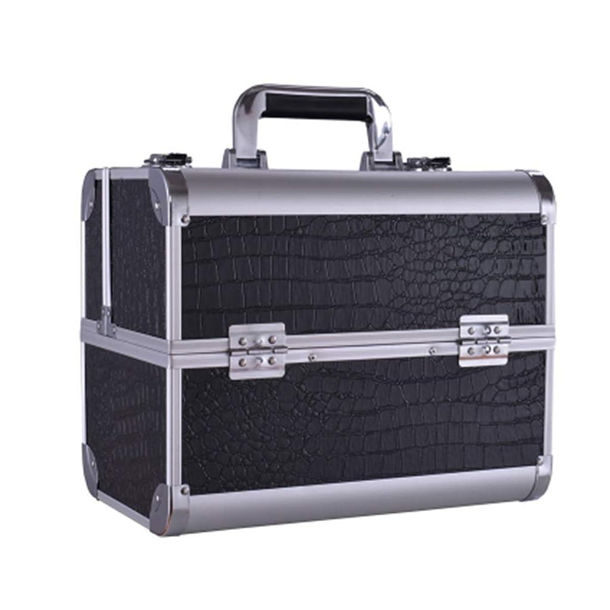 関係型ライド美容バッグ 大きい携帯用化粧箱の入れ墨の道具箱のきれいになること容易な専門の多層釘の収納箱/黒/ピンク HMMSP (Color : Black)