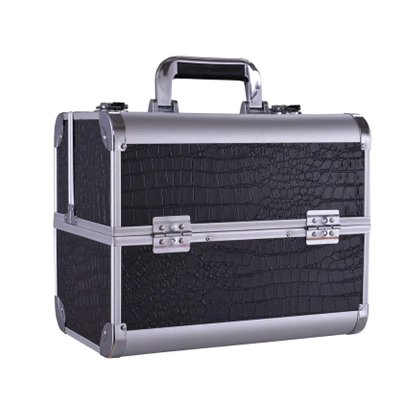 尾リフトテメリティ美容バッグ 大きい携帯用化粧箱の入れ墨の道具箱のきれいになること容易な専門の多層釘の収納箱/黒/ピンク HMMSP (Color : Black)