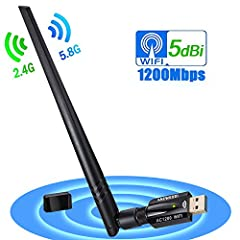 1200Mbps High Wi-Fi Speed 802.11ac Supports 5G/2.4G: This Wi-Fi dongle supports dual band (2.4G and 5G), using the latest and most powerful 802.11ac Wi-Fi technology is 3 times faster than wireless N speed.You can get Maximum Speed up to 867Mbps (5GH...