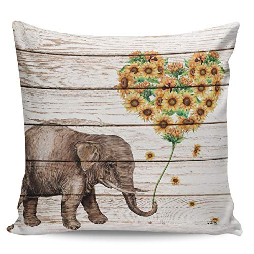 Winter Rangers Decorative Throw Pillow Covers- Cute Elephant Heart-Shaped Sunflower Ultra Soft Pillowcase Comfy Square Cushion Cover Case for Sofa Bedroom, 20' x 20'