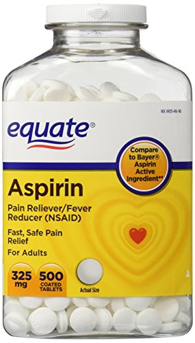 Equate Aspirin 325 mg, Original Strength, 500 Coated Tablets, Pain Reliever (Compare to Bayer)