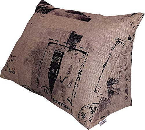 Kissen & more Lese-Kissen und Rückenstütze für optimalen Sitzkomfort, Keil-Kissen, Nacken-Kissen, Deko-Kissen, Fernsehkissen für Bett und Couch Cedros, mit Schaumstoffflocken (grau) (beige)