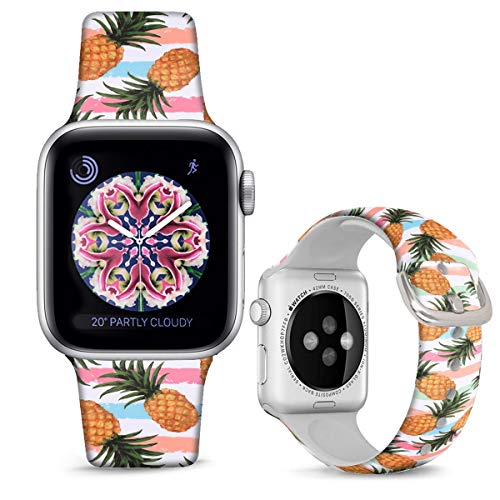 DOO UC Silicone Floral Bands Compatible with Apple Watch 38mm/40mm for Women Girls, Pink Stripes Pineapple Fadeless Pattern Printed Sport Strap Replacement for iWatch SE & Series 6 & Series 5 4 3 2 1