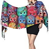 Elaine-Shop Bufanda de cachemir con estampado de calaveras de colores Chal de abrigo de bufanda casual para mujer grande