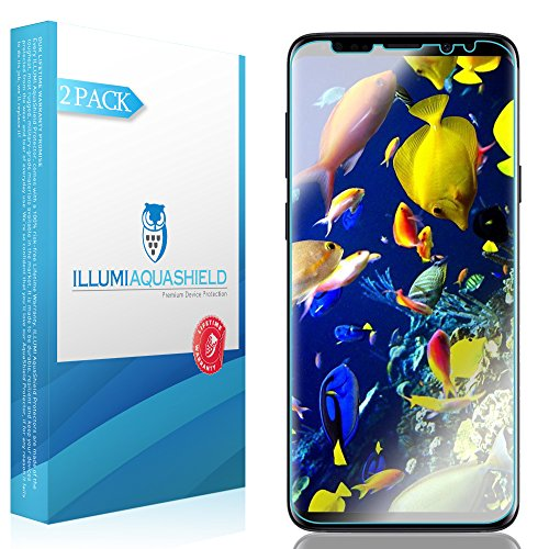 ILLUMI AquaShield Screen Protector Compatible with Samsung Galaxy S9 Plus (2-Pack)(Compatible with Cases) No-Bubble High Definition Clear Flexible TPU Film