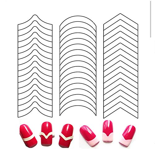 Francesas Pegatinas Uñas Guías Pegatinas Uñas Francesas Plantillas Uñas Francesas Pegatinas Uñas al Agua Consejos Uñas Pegatinas Pour 100 Pcs DIY Curve Moon Shape Nail Stickers Cute Elegant Patterns