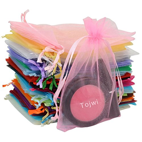 Tojwi 50pcs Organza Bags-Mix Color 3.54''x4.33''(9x11cm) Satin Drawstring Organza Pouch Wedding Party Favor Gift Bag Jewelry Watch Bags