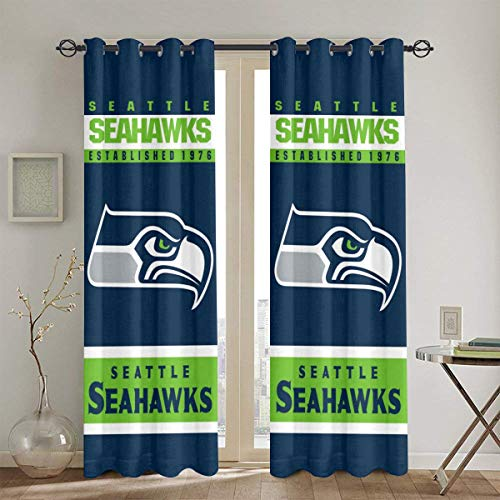"""Marrytiny Custom Curtain Home Decor Window Curtains 2 Panels 52"""" X84"""" Seattle Football Team Polyester Blackout Curtain Grommet Window Drapes Covering for Kitchen Bedroom Living Room"""