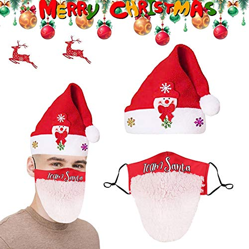 OTTOPT 2021 Christmas Santa Hat Mask, Christmas Mask Limited Edition Hats Novelty Snowman Party Hats with Mask Xmas Gifts Decorations
