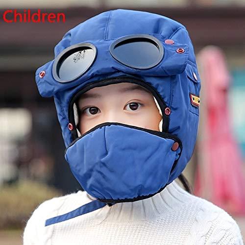Gorra cálida Invierno Hombres diseño Sombreros de Invierno para Mujeres niños Sombrero con Capucha Impermeable con Gafas Fresco-Children-Blue-One Size