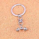 DdA8yonH Schlüsselbund Silber Farbe Metall Vintage Hantel Schlüsselanhänger Zubehör & verchromt...