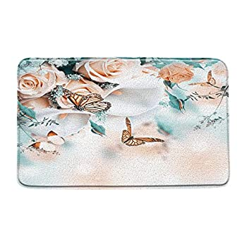 AMFD Flower Butterfly Bath Mat Teal Aqua Bathroom Shower Mat Fantasy Dream Pink Rose White Calla Lily Floral Plant Spring Nature Scenery Kitchen Rug Microfiber Memory Foam 20x31 Inches