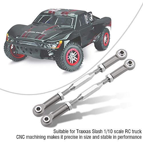 Dilwe RC Truck Lenkstangen, 2 Stück Aluminiumlegierung Lenkgestänge für Traxxas Slash 1/10 Skala RC Truck Fernbedienung Auto Ersatzteil( Titangrau)
