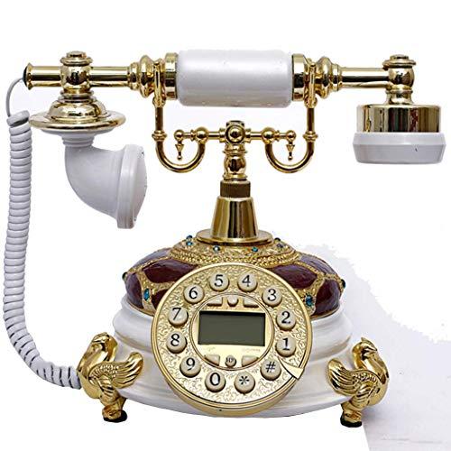 HAOJON Telefono retrò/Telefono Vecchio Stile, Telefono Fisso con quadrante a Pulsante Stile Antico Decorazione per Soggiorno di casa per Ufficio