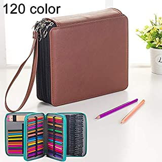 Yiherone 124 Slots Negro Pencil Case PU Leather Drawing Sketch Watercolor Pencils Holder Organizer with Hand Strap (Black) New (Color : Brown)