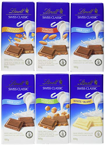Lindt Swiss Classic Fan Pack Chocolate Bar Collection (Milk, White, Hazelnut, Almond, Crunchy), 6 Count (100g Each), 600g