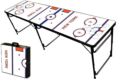 Buy Bargain 8-Foot Professional Beer Pong Table w/Holes - New York 2 Hockey Rink Graphic